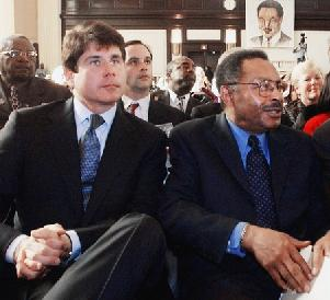 Illinois governor Blagojevich with Roland Burris