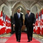 President Obama and Canadian Prime Minister Stephen Harper walk down on the way to a news conference on Parliament Hill in Ottawa , February 19, 2009.