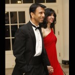 Louisiana Governor Bobby Jindal and his wife Supriya Jindal.  Everyone trying to show their economic sensitivity.  The ladies had to have bought the same dress off the rack.  What do you think?