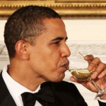 President Obama gets his first sip