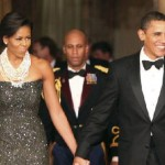 Michelle & Barack make their entrance to their first party