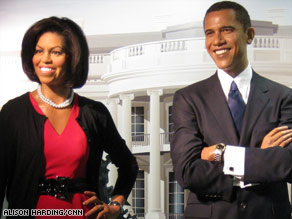 Michelle and President Barack Obama in wax at Madame Tussauds museum