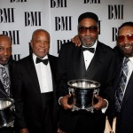 (l-r) BMI Icon Awards honoree Leon Huff, Motown Record Label founder Berry Gordy, BMI Icon Awards honoree Kenneth Gamble and songwriter Eddie Holland (photo courtesy of Arnold Turner/wireimage)