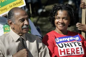 John Conyers with his wife Monica