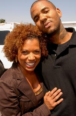 Rolanda Watts & The Game on the set of 'House Arrest'