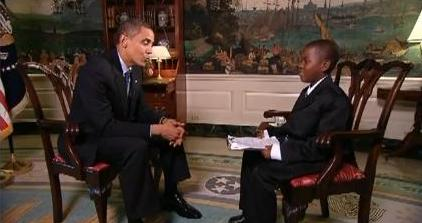 Damon Weaver,11, of southern Florida sits down with President Barack Obama