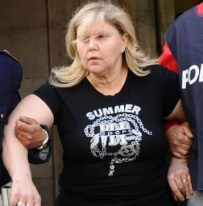 Elmelinda Pagano, wife of alleged Camorra crime syndicate mobster Raffaele Amato, after her arrest. (Salvatore Laporta/ AP)
