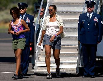 Michelle Obama on vacation wearing shorts