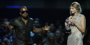 Kanye West takes the mic from Taylor Swift at 2009 VMA's.