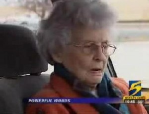 Pauline Jacobi, 92-year old who stopped thief from robbing her in her car.