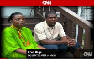 Dean Cage and fiancee' Jewel Mitchell after serving 14 years and being exonerated
