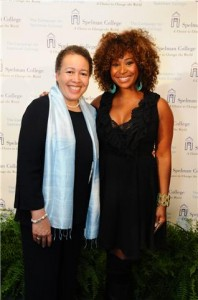 Pictured here, left to right: Dr. Beverly Daniel Tatum, president Spelman College; Tanika Ray, correspondent and co-host 'Extra'  Photo Credit: Julie Yarbrough, courtesy of Spelman College