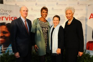 "Pictured here, left to right:  Frank Blake, co-chair, ""The Campaign for Spelman College,"" chairman and CEO, The Home Depot; Jerri DeVard, vice chair and chair-elect, Spelman College Board of Trustees, principal, DeVard Marketing Group; Dr. Beverly Daniel Tatum, president, Spelman College; J. Veronica Biggins, co-chair ""The Campaign for Spelman College,"" managing partner, Hodge Partners, LLC."