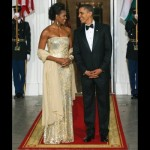 first state dinner-obamas (facing each other)