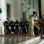 President and his wife greeting the Indian Prime Minister and his wife
