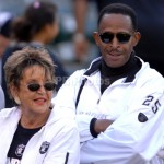 Aug 11, 2007; Oakland, CA, USA:  Antonio Fargas, actor and father of Oakland Raiders running back Justin Fargas (25), and wife Sandy at preseason game against Arizona Cardinals at McAfee Coliseum.