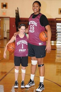 """(L-R): Basketball players Arielle Sherman, 15 and Marvadene """"Bubbles"""" Anderson, 16, both sophomores at Rutgers Prep in Somerset, NJ, December 16, 2009."""