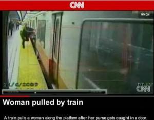 woman dragged by subway