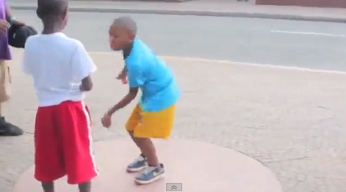 Two little Harlem Shakers get their dance battle on in Harlem, NYC.