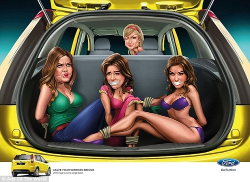 Kardashian sisters, Khloe, Kourtney, and Kim are bound and gagged in the back of Paris Hilton's Figo in a Ford ad not meant for the public.