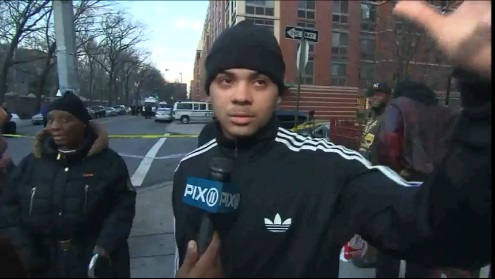 Steven Dominguez, 18, saw a woman jump to her death with her 10-month-old son in her arms in Harlem.