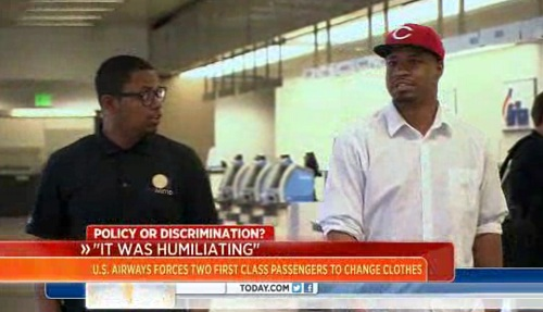 McCraig and Miles Warren were made to change their clothes in order to fly in First Class seating on U.S. Airways.