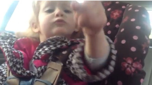 "Little August swings her little finger in the air at her dad as she tells him to ""worry about yourself"" and driiiiive."