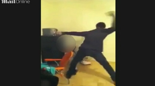 "Father beats daughters for making a ""twerking"" video."