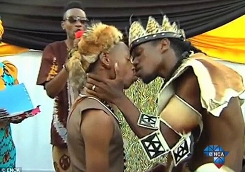 Tshepo Cameron Modisane and Thoba Calvin Sithol seal the deal in the historic first traditional wedding ceremony between a gay couple in South Africa.