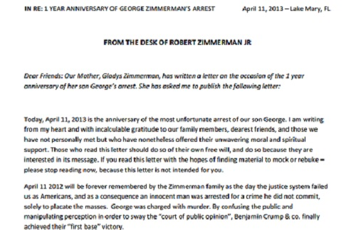 george zimmerman mother letter