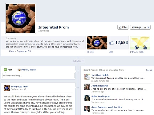 """The four friends put together a Facebook page called """"Integrated Prom"""" which is gathering steam to help them give their first integrated prom."""