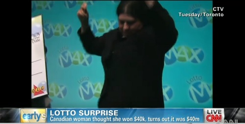 Maria Carreiro, 51, dances to the beat of $40 million dollars in lottery winnings.