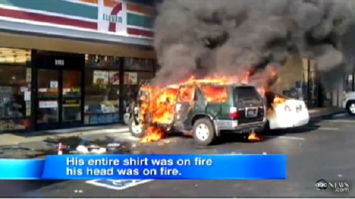 A 63-year-old man was set on fire by homeless man outside 7-Eleven in Long Beach, California.