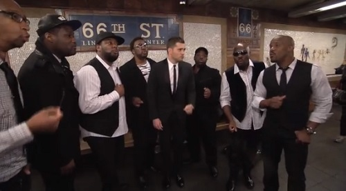 "Michael Buble' in NYC subway performing ""Who's Lovin' You?"" with Naturally 7."