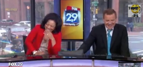 Sheinelle Jones and Mike Jerrick, hosts of Good Morning show in Philly break out in uncontrollable laughter following an interview with Olympic swimmer Ryan Lochte.