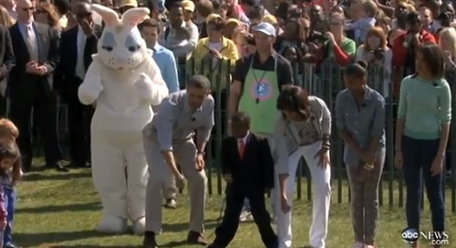 The Easter Bunny, President Obama, Kid President, and the First Lady get the Easter Egg Roll started.