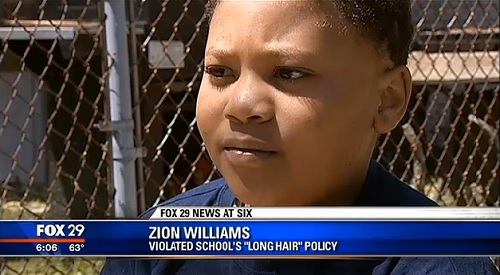 Zion Williams, 8, was kicked out of Shiloh Academy for breaking the long hair policy, but has Alopecia treatments to grow his hair in places where the ailment causes baldness.