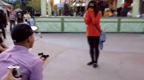 Jamin gets down on one knee in the center of downtown Disneyland to ask his girlfriend Val, to marry him.