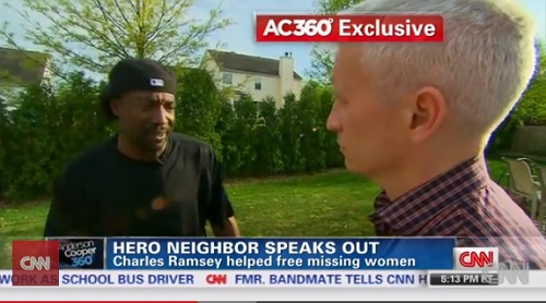 Charles Ramsey tells Anderson Cooper they should give the reward to the kidnapped girls, now women, he rescued.