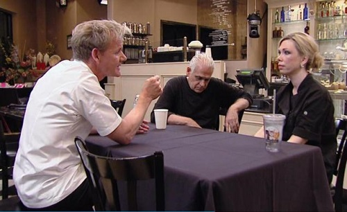 "Chef Gordon Ramsay sit with Amy and Sammy Bouzaglo of the ABC Baking Company to try and fix their restaurant on Friday's episode of ""Kitchen Nightmares""."