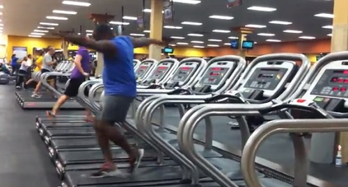 "Unidentified man includes ""treadmill dancing"" in his routine."