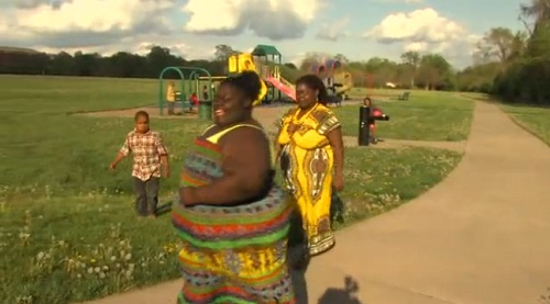 Earlene Johnson and her daughter Falicia, who is 11-years-old and 400lbs., exercise daily in an effort to get their weight down.