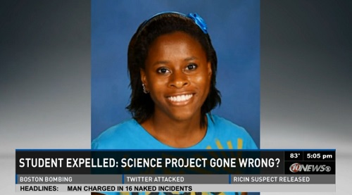 Kiera Wilmot, 16, was awarded a scholarship to attend Alabama University's Space Program after she was arrested for blowing up a science lab in Bartow High School in Bartow, Florida, April 20, 2013.