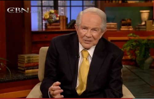 "Pat Robertson tells women to ""Stop talking about the cheating!"" and honor their cheating husbands, Wednesday, May 15, 2013."