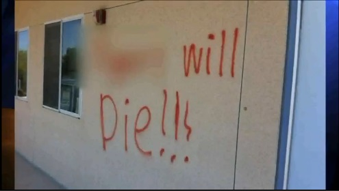 Racist graffiti found on the walls at Augora High School Sunday, May 12, 2013.