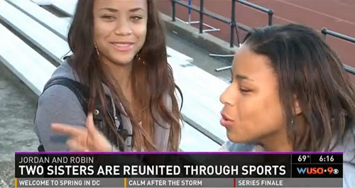 Jordan and Robin Jeter of Washington, D.C., reunited at a track meet after being separated at birth 17 years ago.