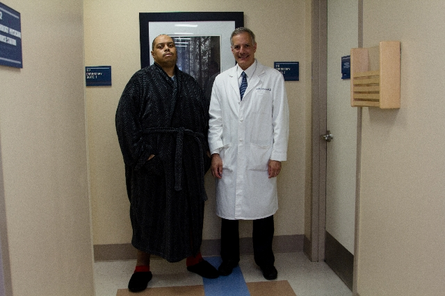 Wesley Warren Jr. is standing normally after Dr. Joel Gelman and three other surgeons, along with other plastic surgeons, successfully removed a 132-pound mass in his scrotum in a 13-hour surgery, April 8, 2013.