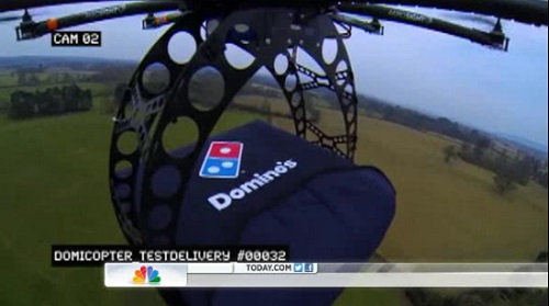 """Domino's tries out a new delivery service using a drone """"DomiCopter."""""""