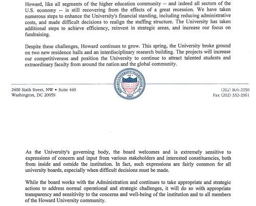 howard chair letter response 2