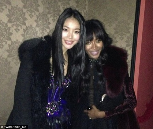 Naomi Campbell in happier times with what some are calling her ex billionaire boyfriend's new love, Luo Zilin, in their time together on Campbell's show The Face.